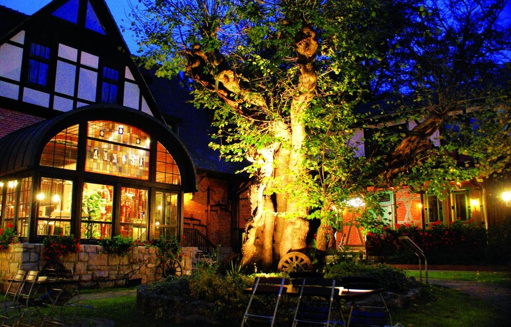 Außenansicht der Papiermühle am Abend mit beleuchteter Linde