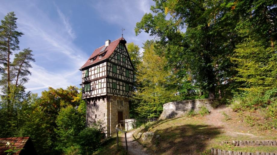 Blick auf den Herzogstuhl in der Jagdanlage Rieseneck